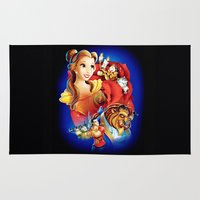 beauty and the beast Area & Throw Rugs featuring Beauty And The Beast by neutrone