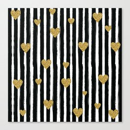 Gold Glitter Hearts Black and White Stripes Canvas Print