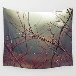 Bird and Red Branches Wall Tapestry