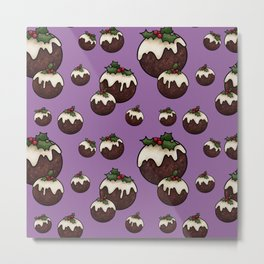 Christmas Pudding Feast with Holly and Berries, Purple Metal Print