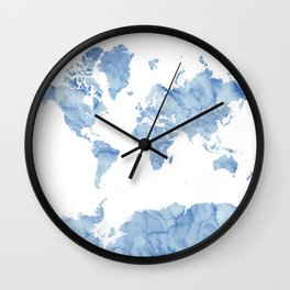 """Blue watercolor world map with outlined countries, """"Vance"""" Wall Clock"""