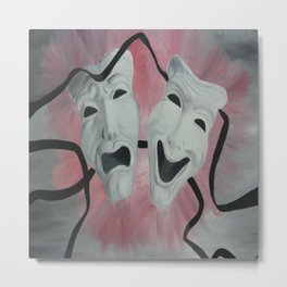 Two Face Mask Metal Print