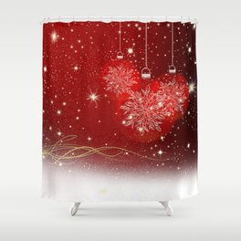 Christmas and Golden Stars Shower Curtain