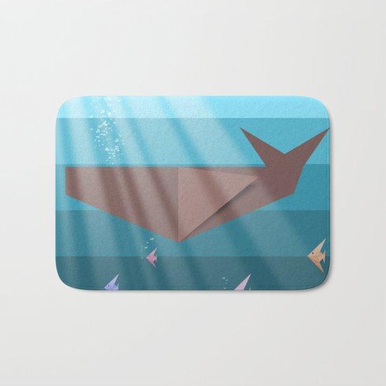LIVING SEA (origami animals whales) Bath Mat