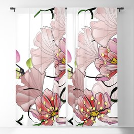 Red leaves botanical floral home decor Blackout Curtain