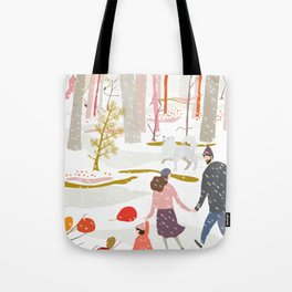 Winter Stroll Around the Woods Tote Bag