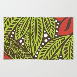 Polynesian flower floral green red tattoo design Rug