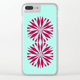 Flor XL Coral Turquoise Clear iPhone Case