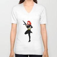 black widow V-neck T-shirts featuring Black Widow by keygrin