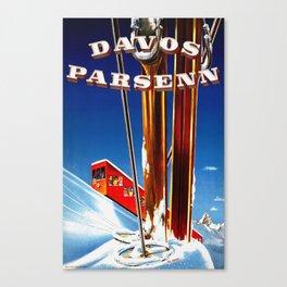 Vintage Davos Parsenn Switzerland Canvas Print
