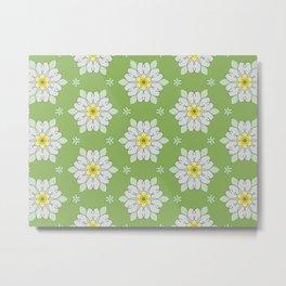 White Florals on Green background Modern Digital Art Metal Print