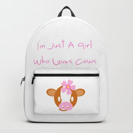 Calf Cow Pink Flower Cute Girl Gift Backpack
