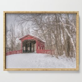 Vermont Red Covered Bridge in Snow Serving Tray