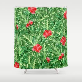 Holly Jolly Christmas Leaves & Berries (Large Pattern) Shower Curtain