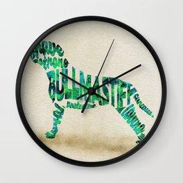 Bullmastiff Typography Art / Watercolor Painting Wall Clock