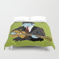 rockabilly Duvet Covers featuring The Rockabilly Dog by Oliver Lake