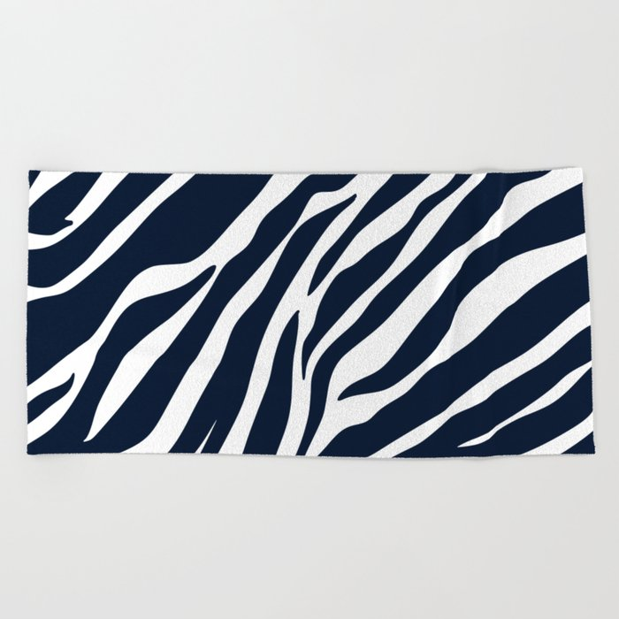 Navy Blue Zebra Print Beach Towel By Hellcom Society6