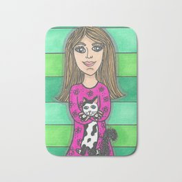 Girl and her happy cat Bath Mat