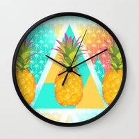 pineapples Wall Clocks featuring Pineapples by Ornaart