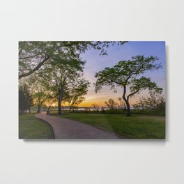 Walking Path at Sunset Metal Print