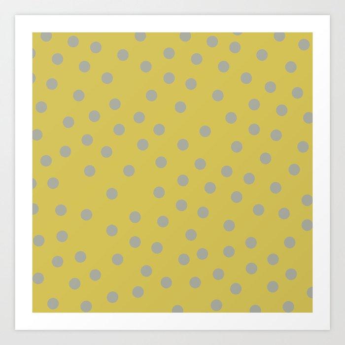 Simply Dots Retro Gray on Mod Yellow Art Print