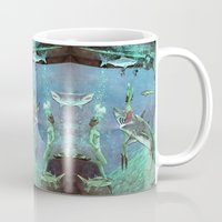 sharks Mugs featuring Sharks by Ben Giles
