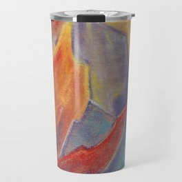 Abstract colorful Mountains at sunset by pastel Travel Mug