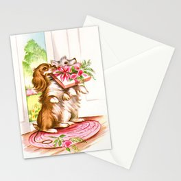 Puppies at the Door Stationery Cards