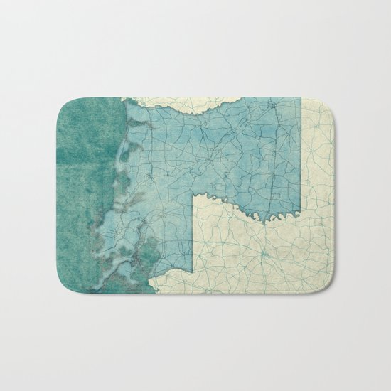 Louisiana State Map Blue Vintage Bath Mat