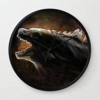 godzilla Wall Clocks featuring Godzilla by Wesley S Abney