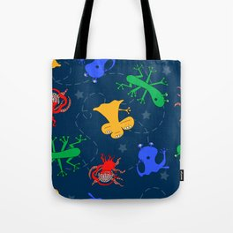 Aliens in Space - Blue Tote Bag
