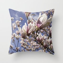 Magnolia Blossoms Shiver Against A Chill Wind Throw Pillow