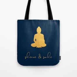 Gold Buddha - Silence & Smile Tote Bag