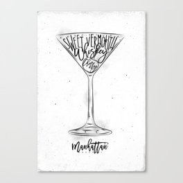 Manhattan cocktail white Canvas Print