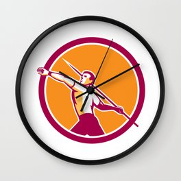 Javelin Throw Track and Field Athlete Circle Wall Clock