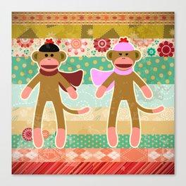Cute Sock Monkey on Cloth Pattern Canvas Print