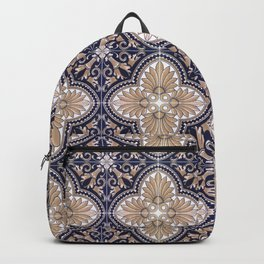 Portuguese Tiles Azulejos Blue and Brown Pattern Backpack