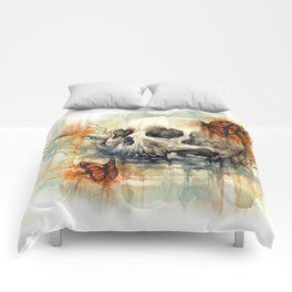 watercolor skull Comforters