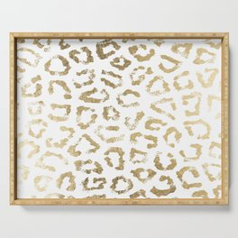 Modern white chic faux gold foil leopard print Serving Tray