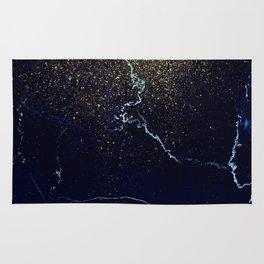 Golden Confetti on Neon Blue Rug
