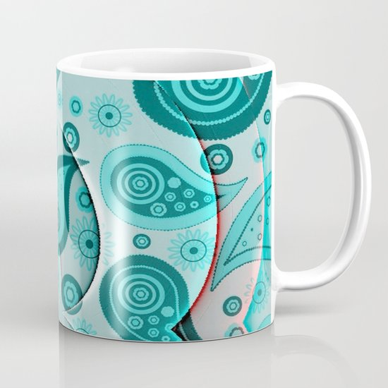 Lovely paisley,aqua Coffee Mug