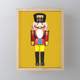 Nutcracker Santa Claus Merry Christmas yellow Framed Mini Art Print