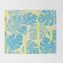 Linocut Monstera Neon Throw Blanket