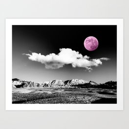 Black Desert Sky & Fuchsia Moon // Red Rock Canyon Las Vegas Mojave Lune Celestial Mountain Range Art Print