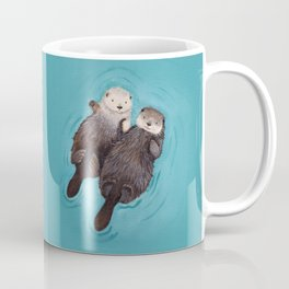 Otterly Romantic - Otters Holding Hands Coffee Mug