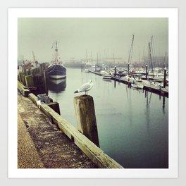 Foggy Harbour Art Print