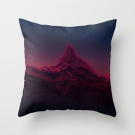 Pink mountains at night Throw Pillow