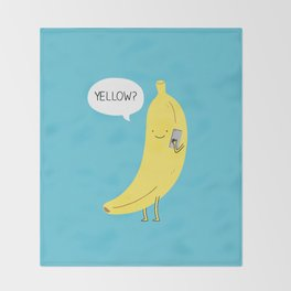 Banana on the phone Throw Blanket