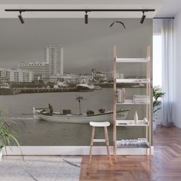 Small boat in the bay Wall Mural