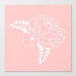 Pink pastel peony Canvas Print